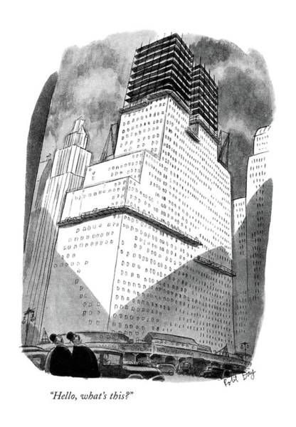 Skyscrapers Drawing - Hello, What's This? by Robert J. Day