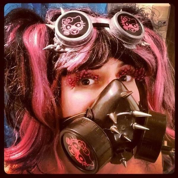 Steampunk Wall Art - Photograph - #hellokitty #gasmask #goggles #mask by Rick Kuperberg Sr