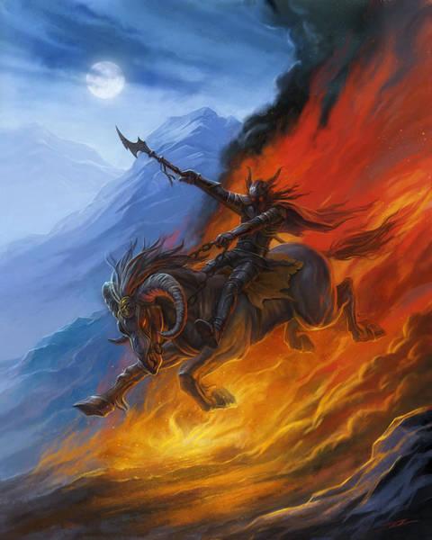 World Of Warcraft Wall Art - Painting - Hell's Horseman by Alan Lathwell