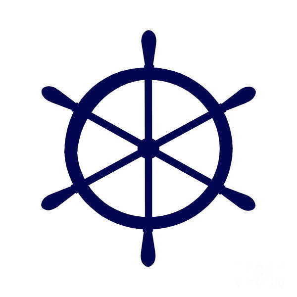 Parts Of A Boat Digital Art - Helm In Navy Blue And White by Jackie Farnsworth