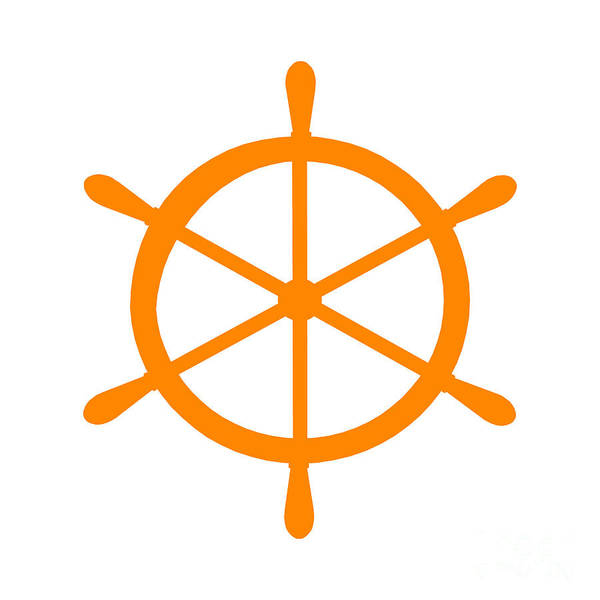 Parts Of A Boat Digital Art - Helm In Orange And White by Jackie Farnsworth