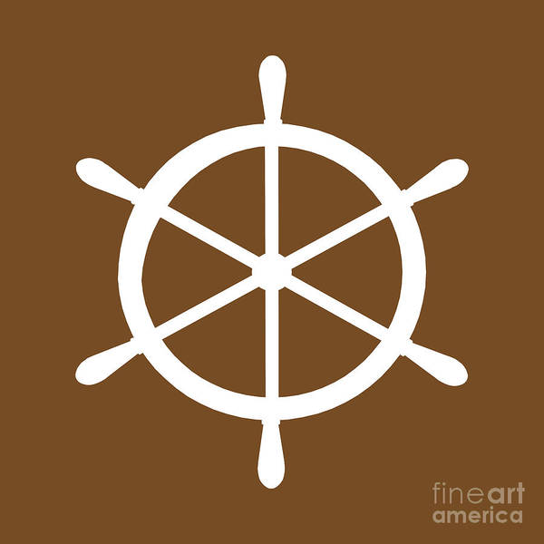 Parts Of A Boat Digital Art - Helm In White And Brown by Jackie Farnsworth