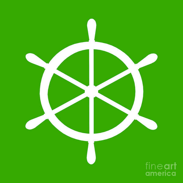 Parts Of A Boat Digital Art - Helm In White And Green by Jackie Farnsworth