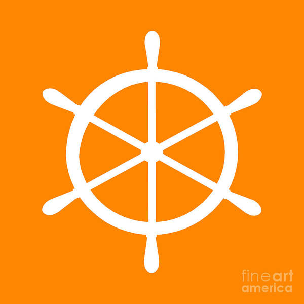 Parts Of A Boat Digital Art - Helm In White And Orange by Jackie Farnsworth