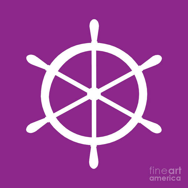 Parts Of A Boat Digital Art - Helm In White And Purple by Jackie Farnsworth