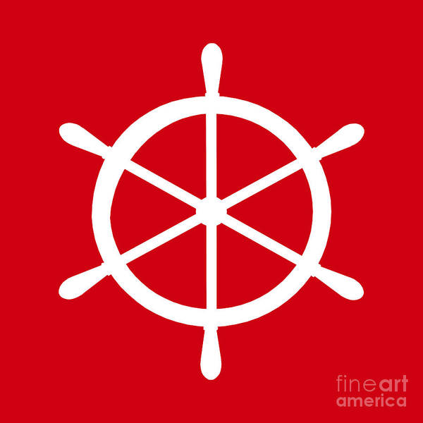Parts Of A Boat Digital Art - Helm In White And Red by Jackie Farnsworth