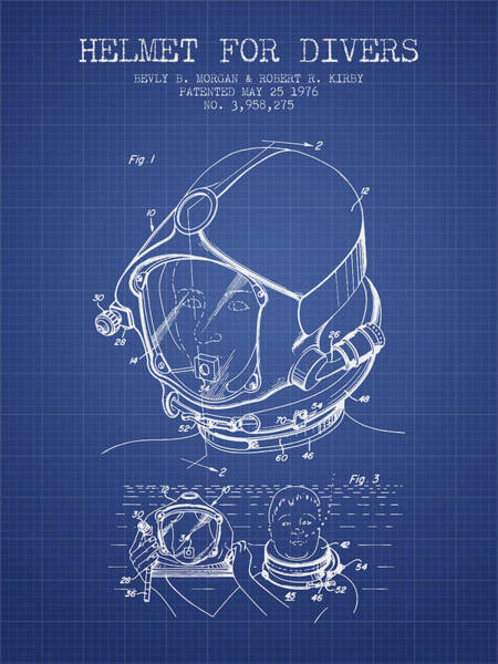 Diving Digital Art - Helmet For Divers Patent From 1976 - Blueprint by Aged Pixel