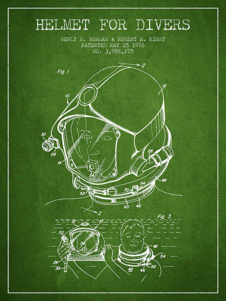 Diving Digital Art - Helmet For Divers Patent From 1976 - Green by Aged Pixel
