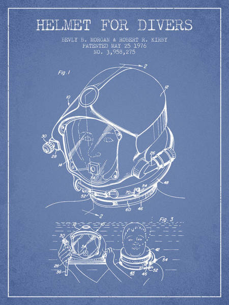 Diving Digital Art - Helmet For Divers Patent From 1976 - Light Blue by Aged Pixel