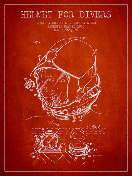 Diving Digital Art - Helmet For Divers Patent From 1976 - Red by Aged Pixel