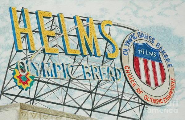 Neon Drawing - Helms Bread by Glenda Zuckerman