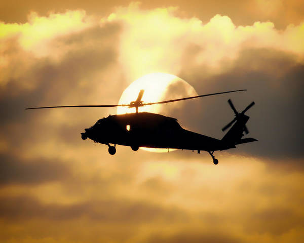 Copter Photograph - Helo Sunset by Mountain Dreams