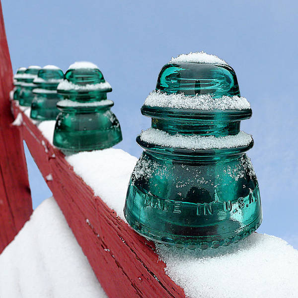 Glass Insulator Photograph - Hemingray 42 - Insulated Against The Cold by Richard Reeve