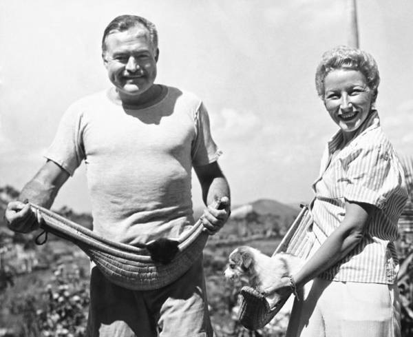 Appearance Photograph - Hemingway, Wife And Pets by Underwood Archives