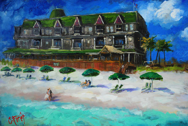 Bed Painting - Henderson Inn Destin Florida by Carole Foret