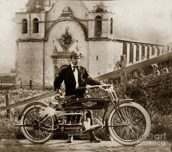 Photograph - Henderson Motorcycle At Carmel Mission Circa 1915 by California Views Archives Mr Pat Hathaway Archives