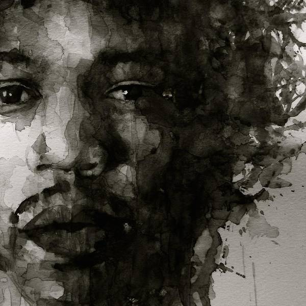 Wall Art - Painting - Hendrix   Black N White by Paul Lovering