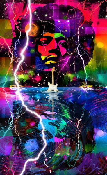 Psychedelia Digital Art - Hendrix Astro Man by Mal Bray