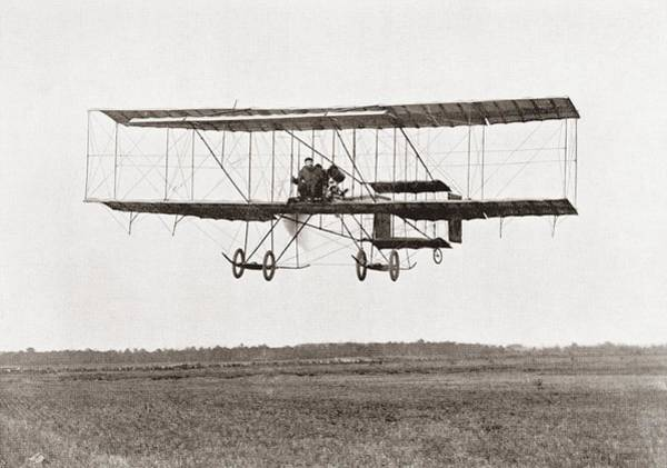 Manufacturers Photograph - Henri Farman Winning The Grand Prix Of Two Thousand Pounds For The Longest Flight Of 112 Miles by Bridgeman Images