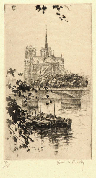 Notre Dame Drawing - Henri Le Riche French, Born 1867 - . Notre Dame by Litz Collection