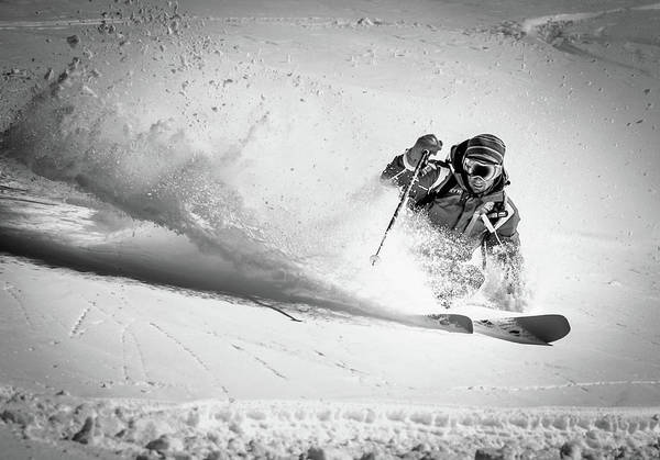 Crash Photograph - Henri Making A Powder Turn... by Eric Verbiest