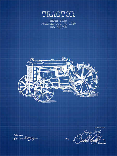 Farming Digital Art - Henry Ford Tractor Patent  From 1919 - Blueprint by Aged Pixel