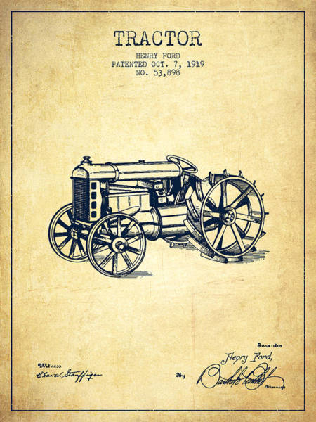 Farming Digital Art - Henry Ford Tractor Patent  From 1919 - Vintage by Aged Pixel