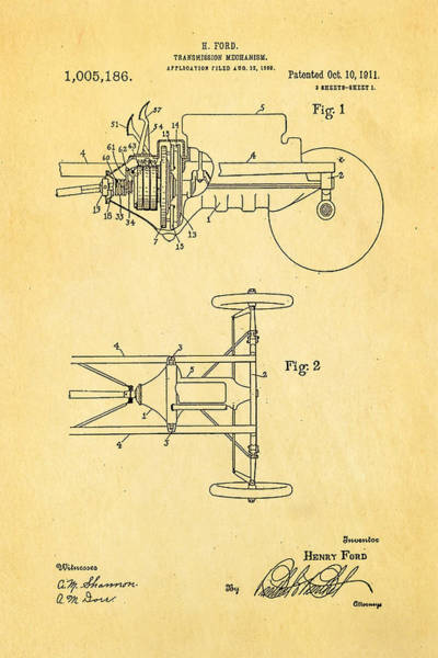 Fitter Photograph - Henry Ford Transmission Mechanism Patent Art 1911 by Ian Monk