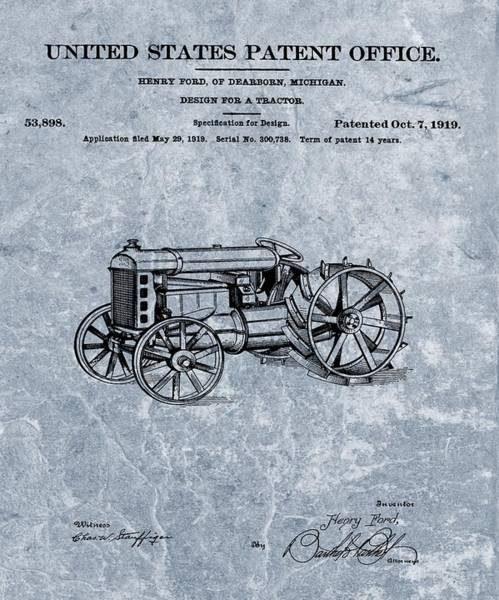 Old Tractor Drawing - Henry Ford's Tractor Patent Cool Blue by Dan Sproul