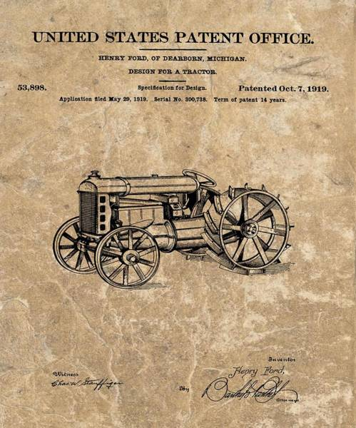 Old Tractor Drawing - Henry Ford's Tractor Patent by Dan Sproul