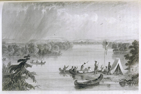 Mississippi River Drawing - Henry Rowe Schoolcraft's  Explorations by Mary Evans Picture Library
