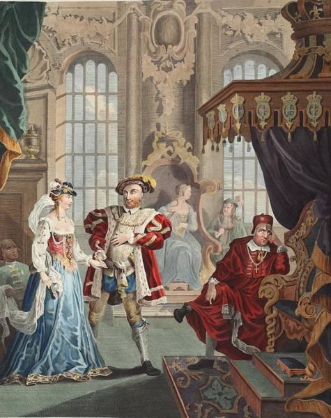 Beheaded Wall Art - Drawing - Henry Viii And Anne Boleyn by William Hogarth
