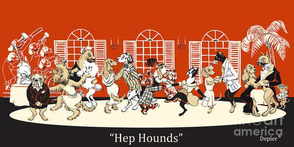 Dog Mixed Media - Hep Hounds by Constance Depler