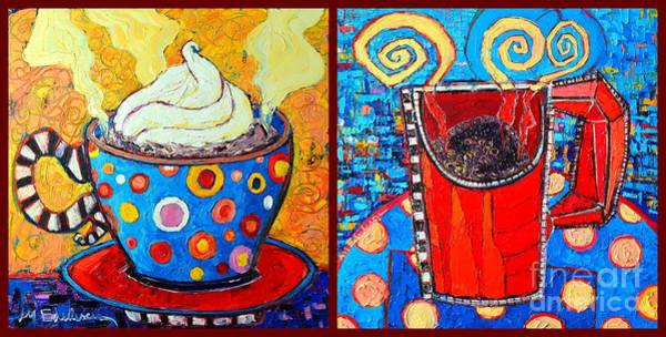 Wall Art - Painting - Her And His Coffee Cups by Ana Maria Edulescu