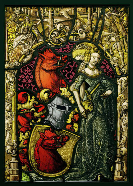 Leaded Glass Painting - Heraldic Panel With The Arms Of The Eberler Family Unknown by Litz Collection