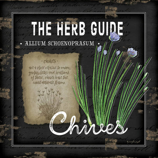 Wall Art - Painting - Herb Guide Chives by Jennifer Pugh