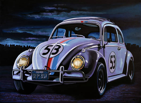 Volkswagen Wall Art - Painting - Herbie The Love Bug Painting by Paul Meijering