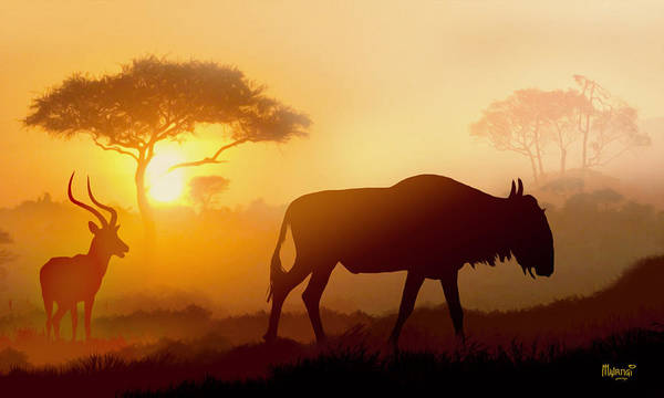 Magnificent Digital Art - Herbivores Twilight by Anthony Mwangi