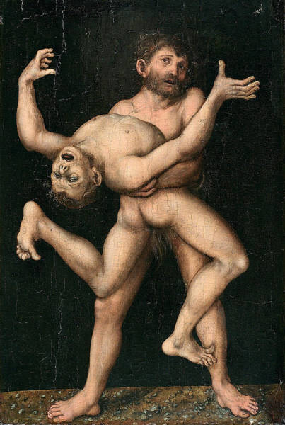 Cranach Painting - Hercules And Antaeus by Lucas Cranach the Elder
