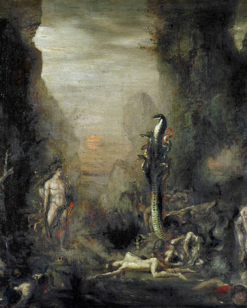 Serpent Photograph - Hercules And The Lernaean Hydra, After Gustave Moreau, C.1876 Oil On Canvas by Narcisse Berchere