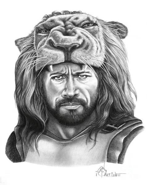 Dwayne Johnson Wall Art - Drawing - Hercules-dwayne Johnson by Murphy Elliott