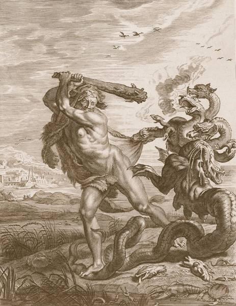 Wetland Drawing - Hercules Fights The Lernian Hydra by Bernard Picart
