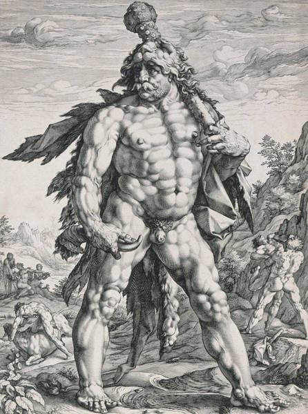Male Figure Drawing - Hercules by Hendrik Goltzius