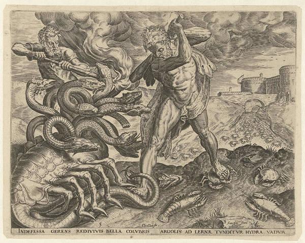 Duty Drawing - Hercules Overcomes The Hydra Of Lerna, Cornelis Cort by Cornelis Cort And Julius Goltzius
