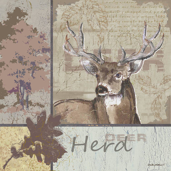 Cabin Wall Art - Painting - Herd by Anita Phillips