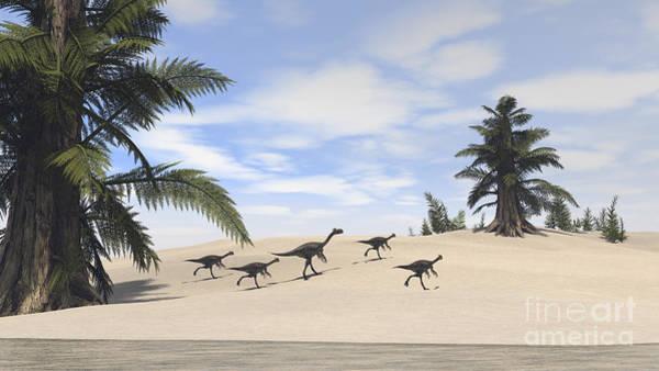 Digital Art - Herd Of Gigantoraptors Walking by Kostyantyn Ivanyshen
