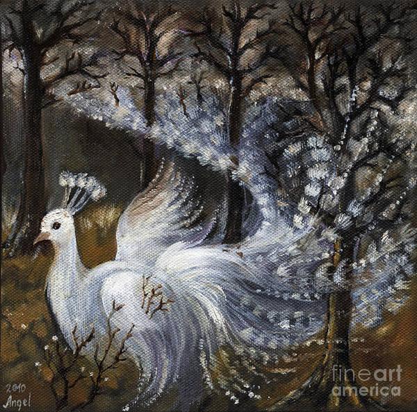 Peacocks Painting - Here Comes The Mist by Angel Ciesniarska