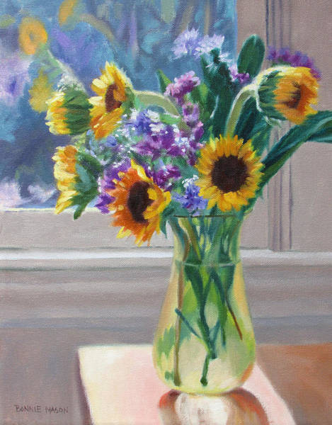 Wall Art - Painting - Here Comes The Sun- Sunflowers By The Window by Bonnie Mason