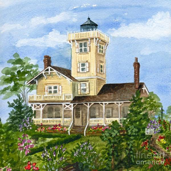 Cape May Painting - Hereford Inlet Lighthouse And Gardens 2 by Nancy Patterson
