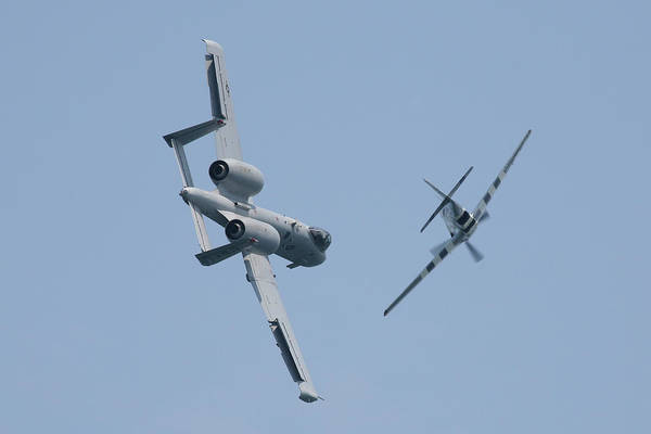 Photograph - Heritage Flight A10 And P51 Cross Over 2 by Donna Corless